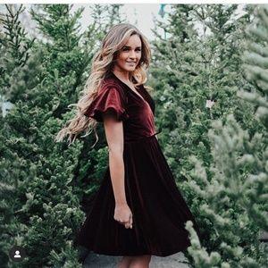 Shabby Apple Burgundy Velvet Wrap Dress